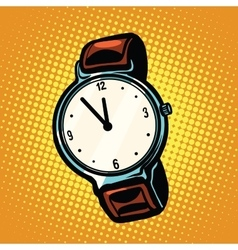 Retro wrist watch with leather strap vector image