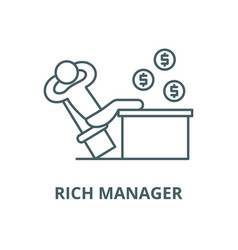 rich manager line icon linear concept vector image