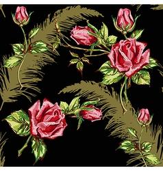 Rose pattern on black vector