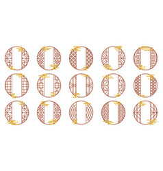 Set chinese round frames with oriental vector