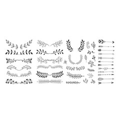 set hand drawing page dividers borders and vector image