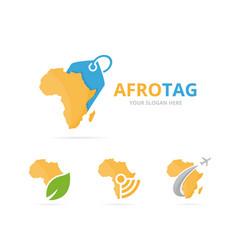 Set of africa logo combination safari and shop vector