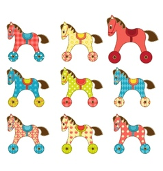 Set of patchwork horses 8 vector image