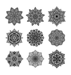 Set of round mandala on white isolated background vector