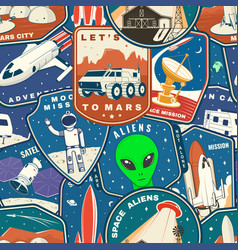 Set space mission colorful seamless pattern vector