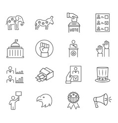 set vote icon in thin line style symbols vector image
