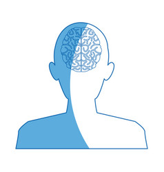 silhouette man brain think idea knowledge vector image