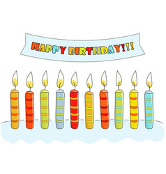 sketch postcard birthday with cake candles and vector image