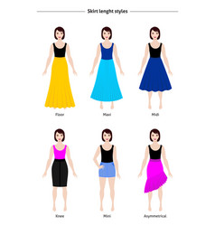 Skirt length styles vector