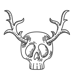 Skull with deer horns vector