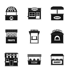 street store icons set simple style vector image