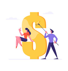 successful business man painting huge dollar sign vector image