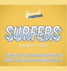 Surfers vintage 3d summer alphabet vector