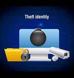 Theft identity computer technology folder camera vector
