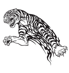 Tiger tribal black and white vector