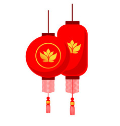 traditional chinese red lanterns isolated on white vector image