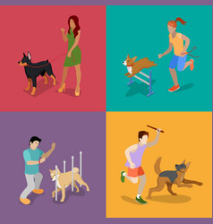 Training dogs people with pets isometric vector