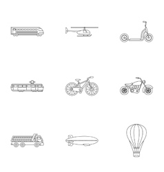 Transport icons set outline style vector