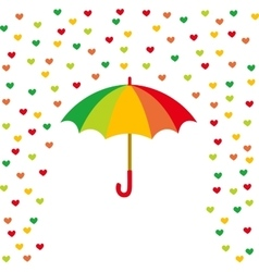 Umbrella and rain of colored hearts vector
