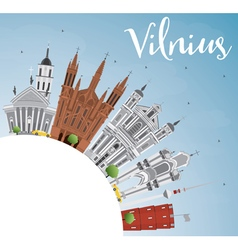 Vilnius Skyline with Gray Landmarks vector image