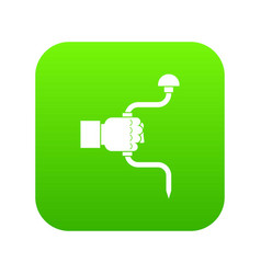 Vintage hand drill in man hand icon digital green vector