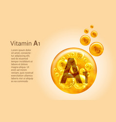 Vitamin a1 baner with images golden balls vector