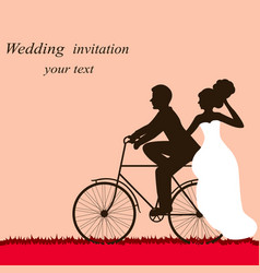 wedding card with a bicycle couple in love vector image