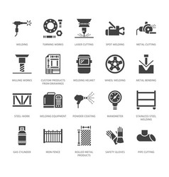 Welding services flat glyph icons rolled metal vector