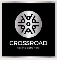 Wheel crossroad logotype vector