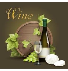 Wine bottle and oak barrel background vector