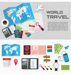 world travel card on table poster vector image