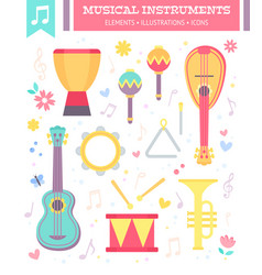 Flat musical instruments isolated on white vector