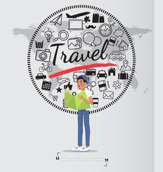 journey with travel icons set on world map vector image vector image