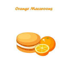 Orange macaroons cookie vector