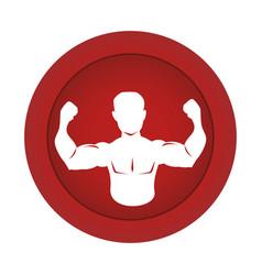 Red circular border silhouette half body muscle vector