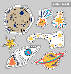 space sticker set vector image vector image