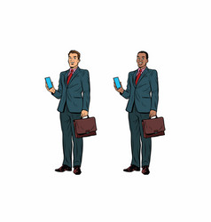 two businessmen african american and caucasian vector image vector image