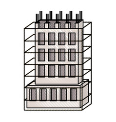 building under construction with scaffolding vector image
