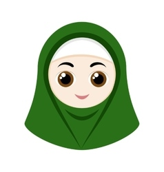 Cartoon girl with hijab vector image vector image