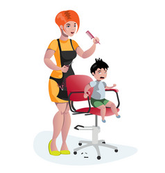 children hairdresser little boy master vector image