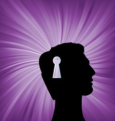 Human head with keyhole mark symbol vector image
