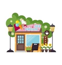 Ice cream shop facade vector image vector image