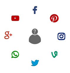 icons of popular social network vector image
