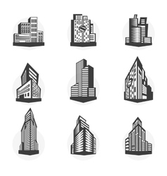 Set of black high-rise buildings and facades of vector image vector image