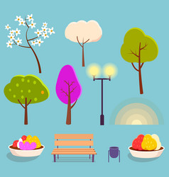 spring park cartoon isolated elements collection vector image vector image