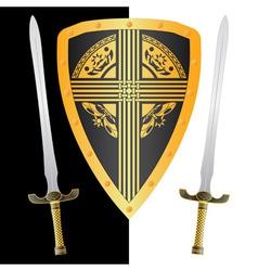 fantasy shield and swordsthird variant vector image vector image