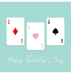 Happy Valentines Day Love background Poker playing vector image vector image