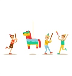 Kids Playing With Horse Shaped Pinata Kids vector image vector image