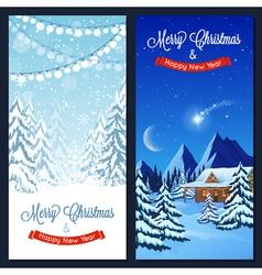 Winter Landscape Vertical Banners vector image vector image