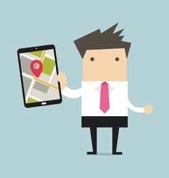 Businessman holding tablet computer vector image vector image